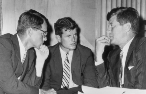 Ted (center) with bro John (right), 1962