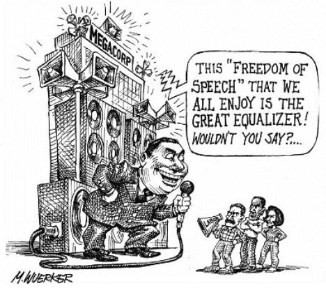 Big business and free speech, cartoon