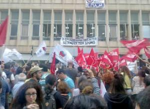 Supporters of the ERT workers' occupation rally outside the headquarters in Athens (Panos Petrou)
